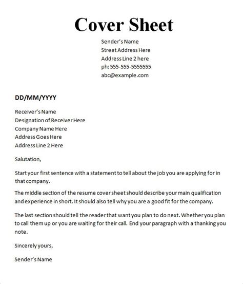 Cover Sheet Template Word by Sle Cover Sheet Template 9 Free Documents