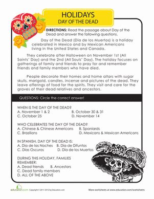 day of the dead history worksheet education