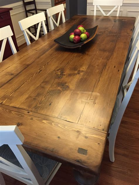 reclaimed wood dining table    thick plank top
