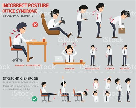 incorrect posture and office infographic stock