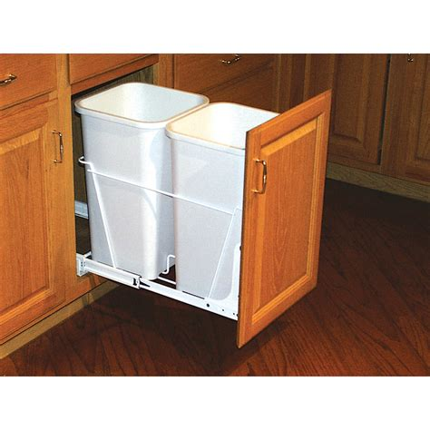kitchen corner cabinet trash can pull out shop rev a shelf 27 quart plastic pull out trash can at