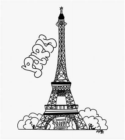 Tower Eiffel Coloring Line New7wonders Drawing Kindpng