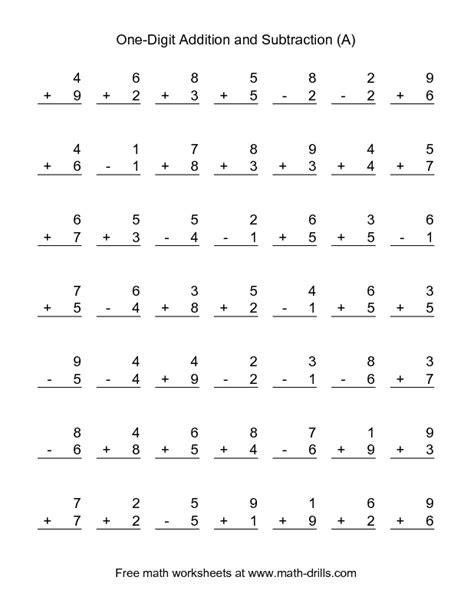 grade math worksheet addition and subtraction combined addition and subtraction worksheet single