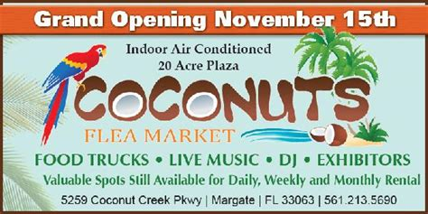 coconuts fort lauderdale open table coconuts flea market preview weekend nov 15 16 food