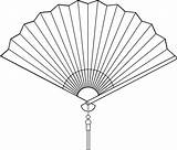 Clipart Fan Chinese Clip Fans Drawing Folding Coloring Clipartion sketch template