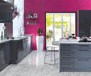 deco cuisine fushia gris With deco cuisine gris et noir