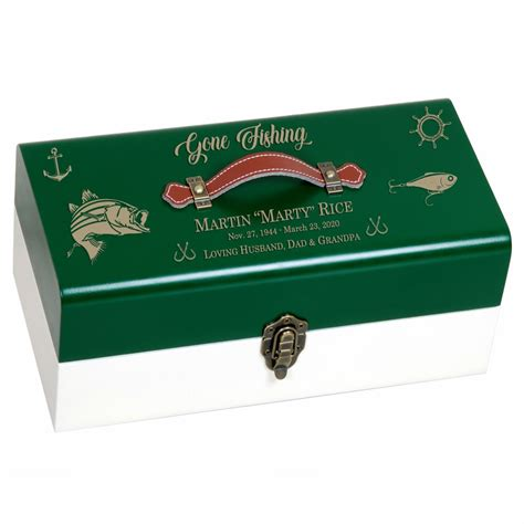 fishing tackle box green cremation urn   light