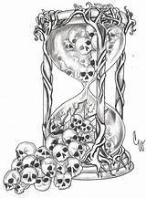 Hourglass Tattoo Broken Sketch Saati Kum Drawing Skull Template Tatuajes Doevmeleri Mexicanas Calaveras Coloring Glass Kafatası Tattoos Heart Doevmeler Fikirler sketch template