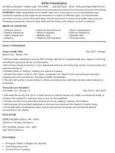In Home Care Description For Resume by Home Health Aide Resume Sle More Experience Home Health Aide