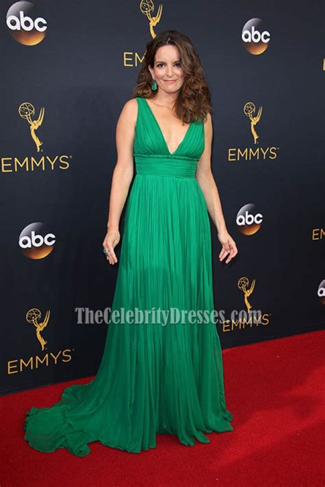 tina fey green chiffon ruffle deep  evening dress