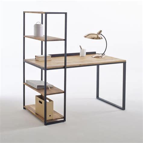 x com bureau bureau bibliothèque métal et chêne massif hiba noir bois