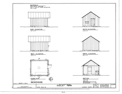 farmhouse plans file smokehouse elevations floor plan and section