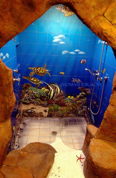 Turtle Themed Bathroom by Bath And Shower Tile Murals Tropical Fish Deir