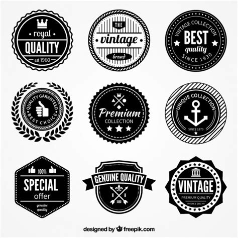 retro quality badges vector free download