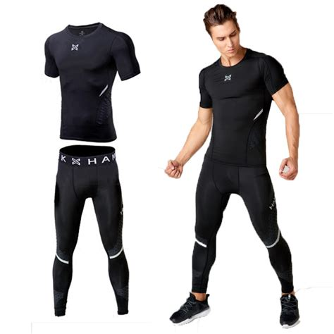 Men workout clothes stretch quick dry compression tights sport running suits fitness basketball ...