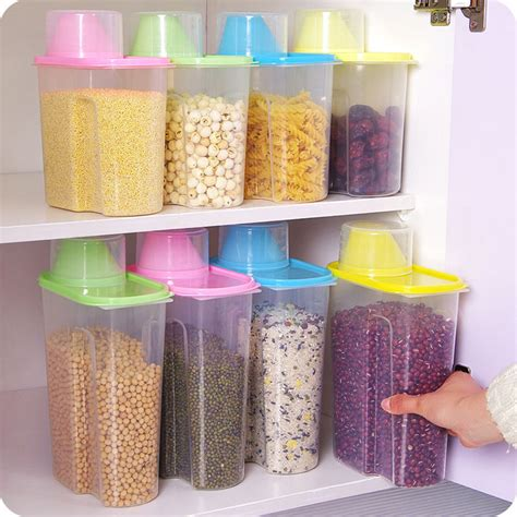 storage boxes kitchen 2 5l 1 9l kitchen food grain bean rice plastic storage 2545