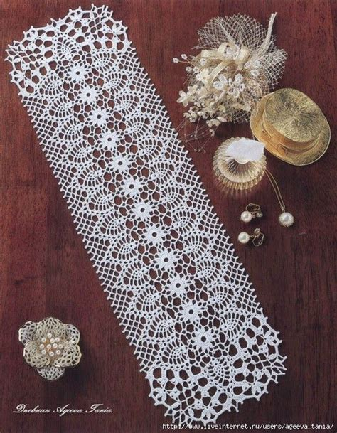 free crochet pineapple table runner patterns rectangle doily camino de mesa crochet table runner