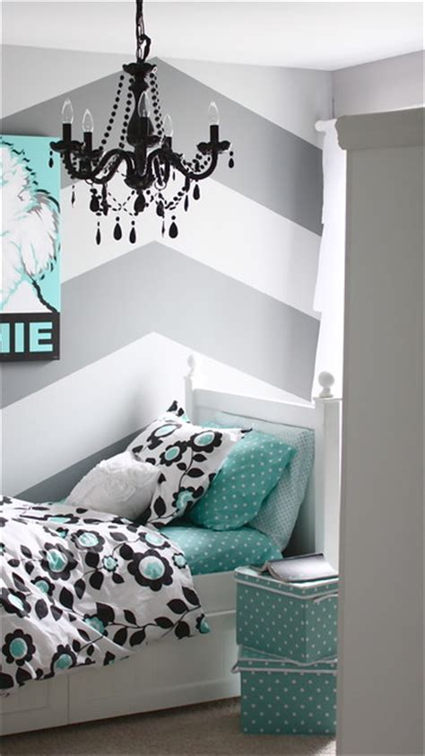 Gray And Turquoise Teen Bedroom  Contemporary Kids