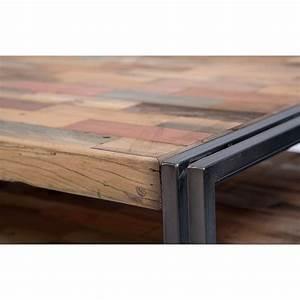 Table Basse Fer Et Bois : table basse carr e style industrielle en m tal et bois recycl ~ Teatrodelosmanantiales.com Idées de Décoration