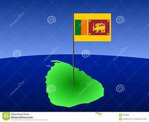 Map Of Sri Lanka With Flag Stock Vector  Illustration Of