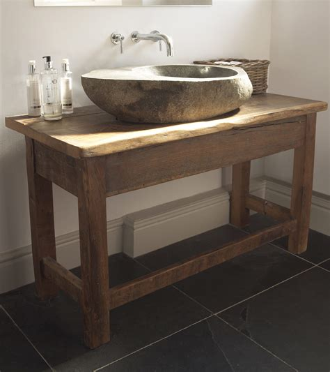 reclaimed oak stone sink unit stump furniture