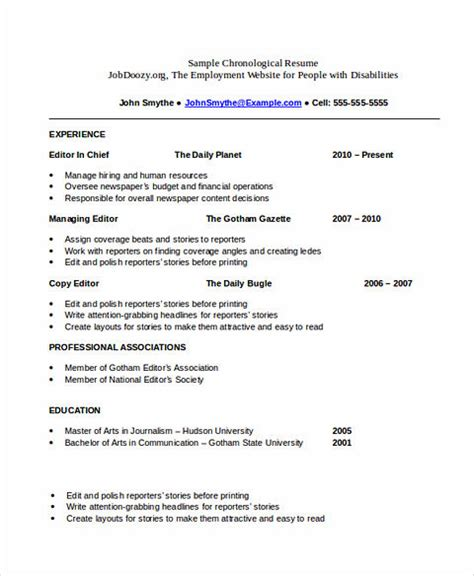 When Is Chronological Resume Not Advantageous by Everything You To About Chronological Resume