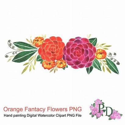 Watercolor Clipart Flowers Flower Background Orange Clip