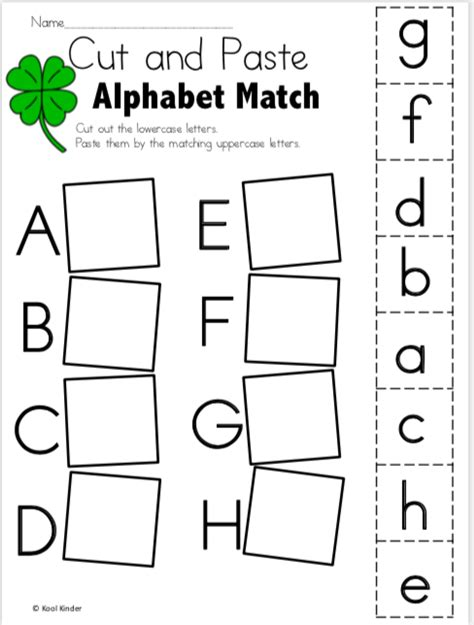 march alphabet worksheets  kindergarten cut