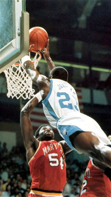 photo michael jordan dunk  maryland tar heel times
