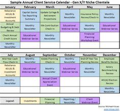 crafting  annual financial planning service calendar