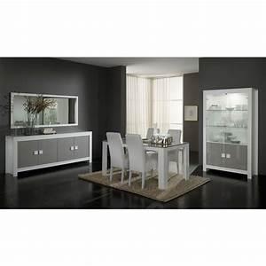Salle A Manger Blanc Laqué : salle manger table manger blanc et gris laqu ~ Dallasstarsshop.com Idées de Décoration