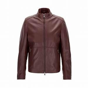 Veste En Cuir Rouge Homme : cuir rouge boss veste slim fit en cuir souple homme rouge sombre you talk ~ Melissatoandfro.com Idées de Décoration