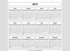 Calendario 2019 imprimible 2 2019 2018 Calendar