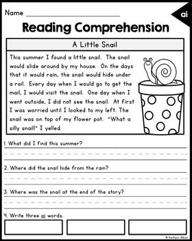 reading comprehension passages long vowels  kaitlynn