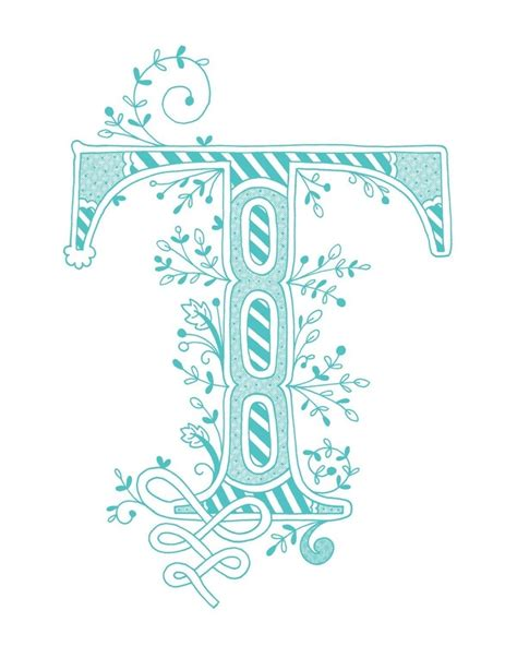 hand drawn monogrammed print   letter    color blue   etsy