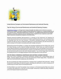 united service company on commercial maintenance and With sample of letters introducing new cleaning services company