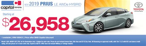 Capitol Toyota Salem by New 2019 Toyota Prius For Sale Low Price Hybrid In Salem Or
