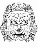 Coloring Mask Native American Spirit Bear Pages Masks Mayan Northwest Kwakiutl Aztec Printable Tlingit Adult Indian Ks2 Template Maya Thunderbird sketch template
