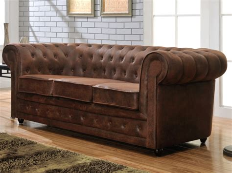 vente canape chesterfield canapé 3 places chesterfield en microfibre aspect cuir