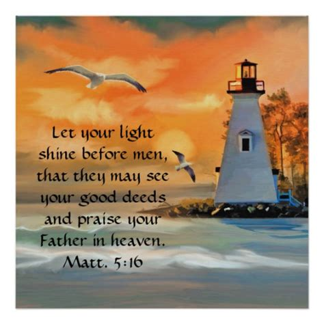 Let Your Light Shine by Lighthouse Sunset Seagulls Bible Verse Poster Zazzle