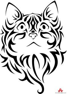 37 Best Cat Face Tribal Tattoo images | Face, Tribal