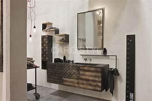 meuble de salle de bains suspendu vintage carrelage et With meuble salle de bain mer