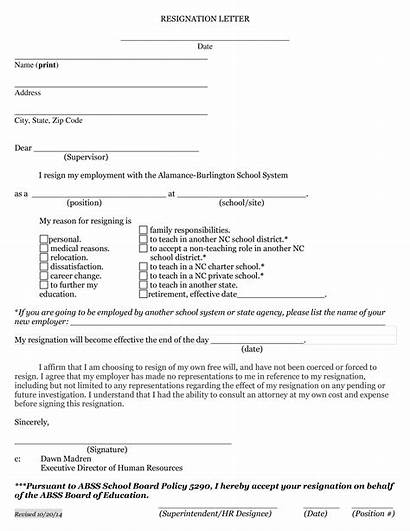 Resignation Letter Notice Weeks Board Template Teachers