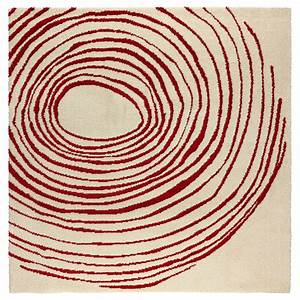 eivor cirkel rug high pile white red 200x200 cm ikea With tapis carré 200x200