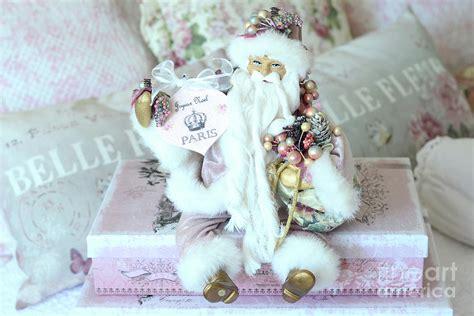 shabby chic pink and white santa joyeux noel