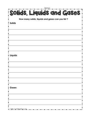 solids liquids and gas worksheet worksheets