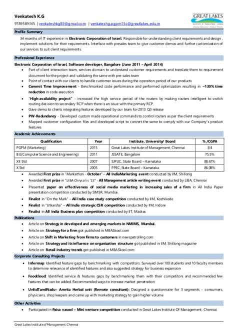 Great Resume Exles by Venkatesh Kg Great Lakes Institute Of Management Resume