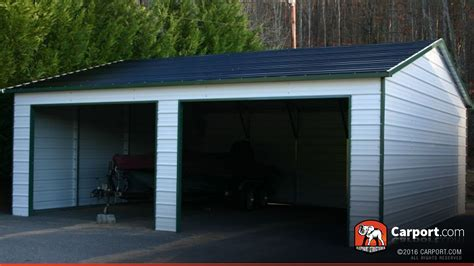 building garages and carports metal building with two garage doors 22 x 26 shop