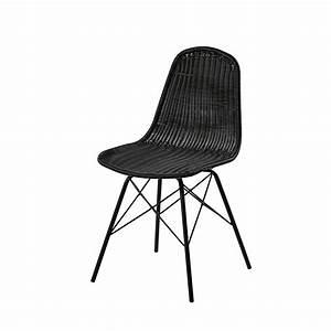 Chaise En Acier : chaise de jardin en acier et r sine tress e noire beckett maisons du monde ~ Teatrodelosmanantiales.com Idées de Décoration