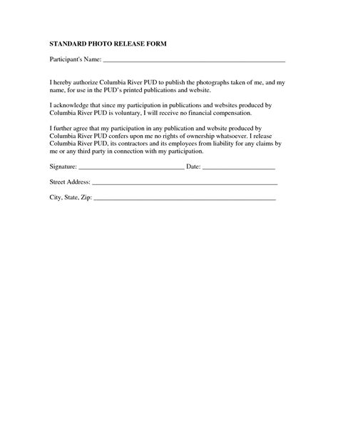 Photography Waiver And Release Form Template by Best Photos Of Photo Release Form Template Photography